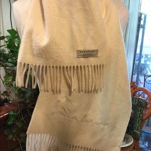 Burberry 100% cashmere ivory scarf